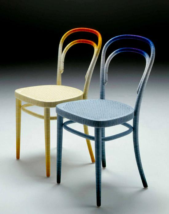 Keisuke Fujiwara Spool 214 thonet chair omotane stolicky farebnymi nitkami