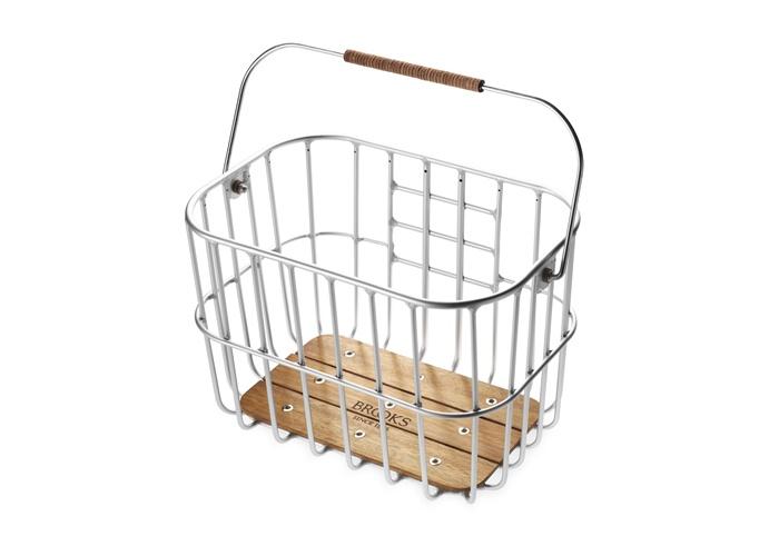 Hoxton wire basket droteny kos na bicykel s drevenym dnom