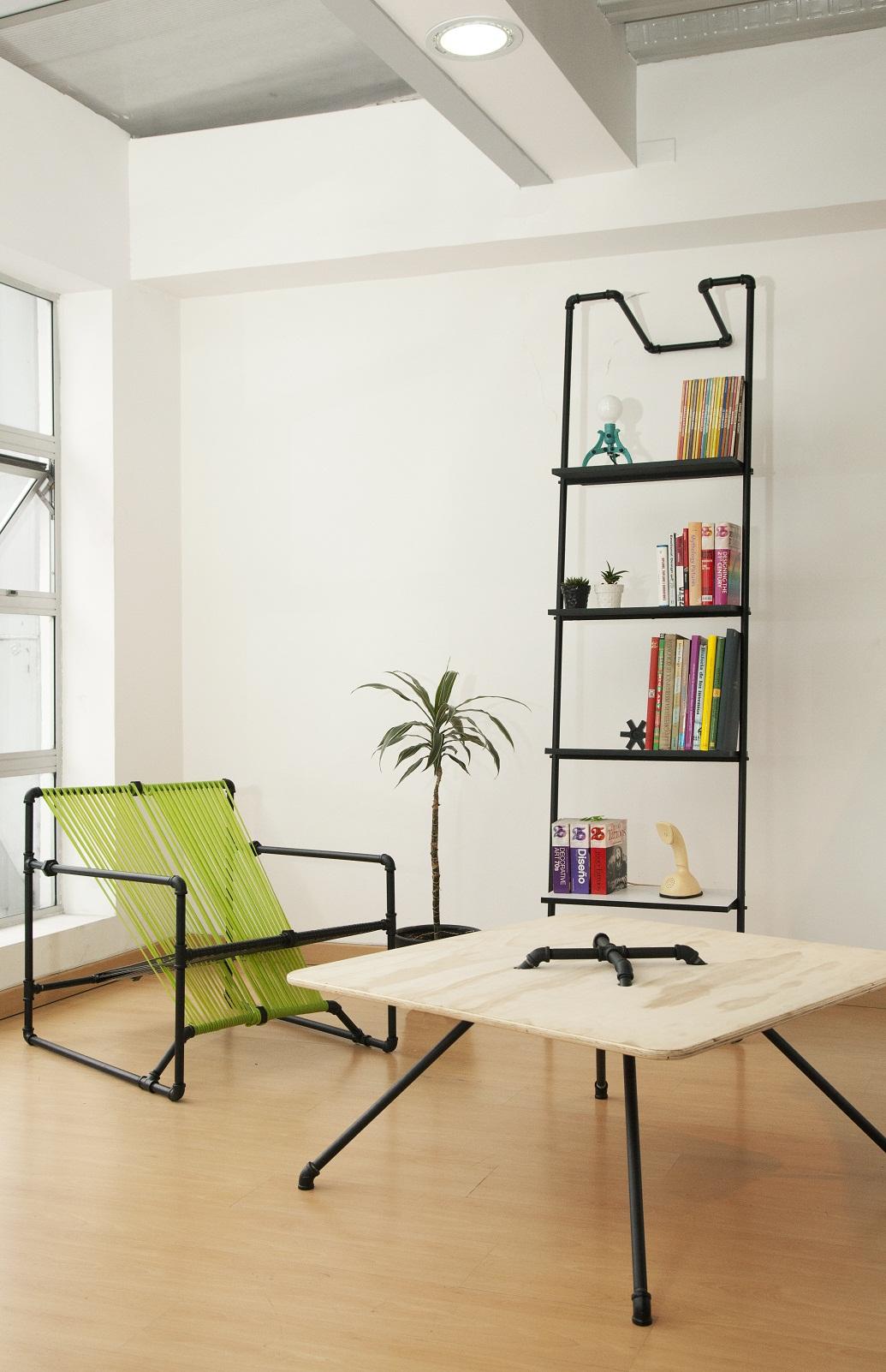 The Open Tap by Dosuno design stol kreslo polica z mosadznych rur